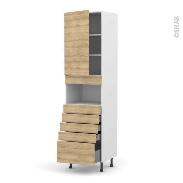 Colonne de cuisine N°2459 - MO encastrable niche 36/38 - HOSTA Chêne naturel - 1 porte 5 tiroirs - L60 x H217 x P58 cm
