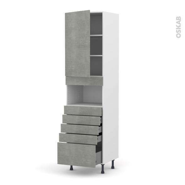 Colonne de cuisine N°2459 - MO encastrable niche 36/38 - FAKTO Béton - 1 porte 5 tiroirs - L60 x H217 x P58 cm