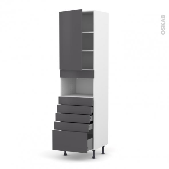 Colonne de cuisine N°2459 - MO encastrable niche 36/38 - GINKO Gris - 1 porte 5 tiroirs - L60 x H217 x P58 cm