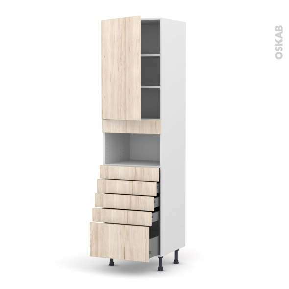 Colonne de cuisine N°2459 - MO encastrable niche 36/38 - IKORO Chêne clair - 1 porte 5 tiroirs - L60 x H217 x P58 cm