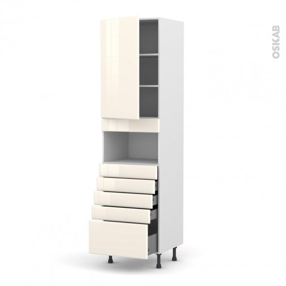 IRIS Ivoire - Colonne MO niche 36/38 N°2459  - 1 porte 5 tiroirs - L60xH217xP58
