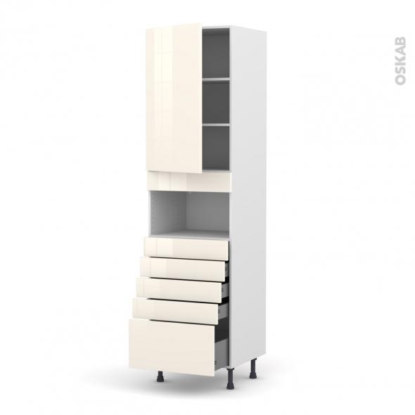Colonne de cuisine N°2459 - MO encastrable niche 36/38 - KERIA Ivoire - 1 porte 5 tiroirs - L60 x H217 x P58 cm