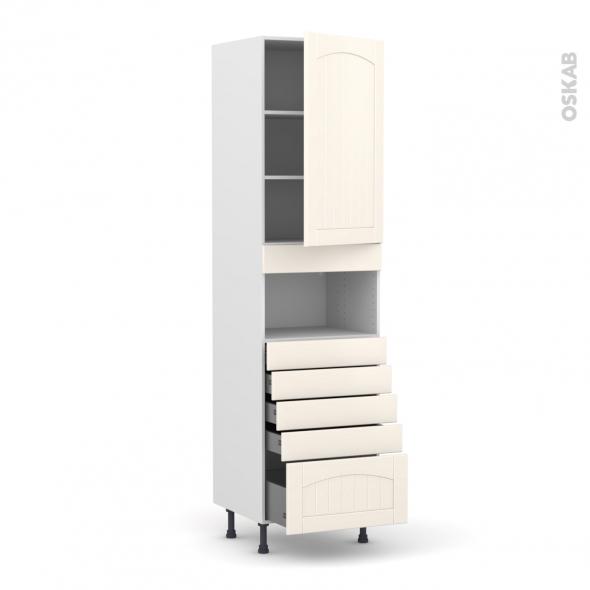 SILEN Ivoire - Colonne MO niche 36/38 N°2459  - 1 porte 5 tiroirs - L60xH217xP58 - droite