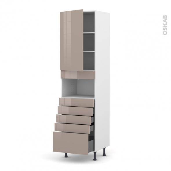 Colonne de cuisine N°2459 - MO encastrable niche 36/38 - KERIA Moka - 1 porte 5 tiroirs - L60 x H217 x P58 cm