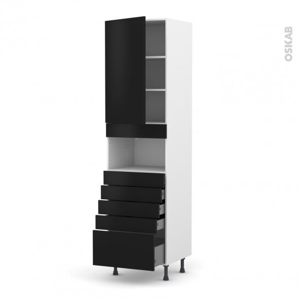 Colonne de cuisine N°2459 - MO encastrable niche 36/38 - GINKO Noir - 1 porte 5 tiroirs - L60 x H217 x P58 cm