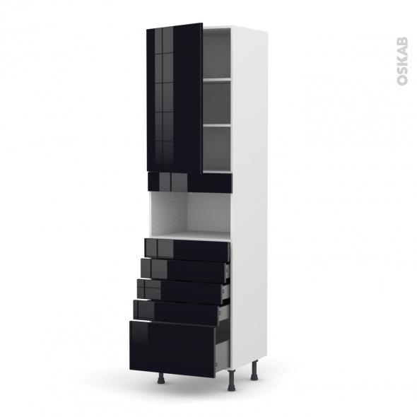 Colonne de cuisine N°2459 - MO encastrable niche 36/38 - KERIA Noir - 1 porte 5 tiroirs - L60 x H217 x P58 cm