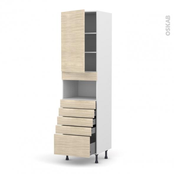 Colonne de cuisine N°2459 - MO encastrable niche 36/38 - STILO Noyer Blanchi - 1 porte 5 tiroirs - L60 x H217 x P58 cm