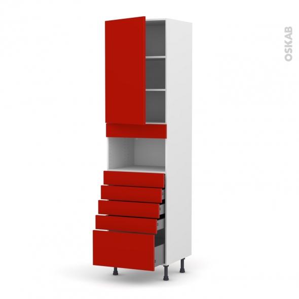 GINKO Rouge - Colonne MO niche 36/38 N°2459  - 1 porte 5 tiroirs - L60xH217xP58