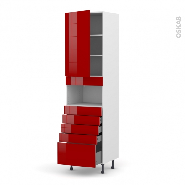 Colonne de cuisine N°2459 - MO encastrable niche 36/38 - STECIA Rouge - 1 porte 5 tiroirs - L60 x H217 x P58 cm