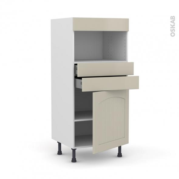 SILEN Argile - Colonne MO niche 36/38 N°56  - 1 porte 2 tiroirs - L60xH125xP58 - droite