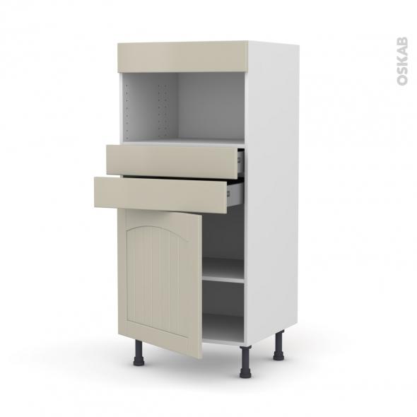 SILEN Argile - Colonne MO niche 36/38 N°56  - 1 porte 2 tiroirs - L60xH125xP58 - gauche