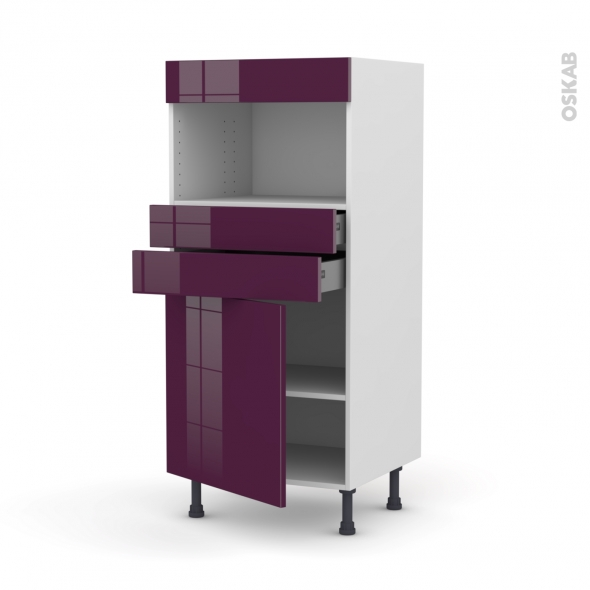 KERIA Aubergine - Colonne MO niche 36/38 N°56  - 1 porte 2 tiroirs - L60xH125xP58