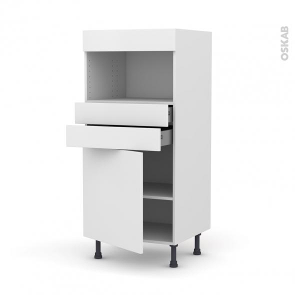 Colonne de cuisine N°56 - MO encastrable niche 36/38 - GINKO Blanc - 1 porte 2 tiroirs - L60 x H125 x P58 cm
