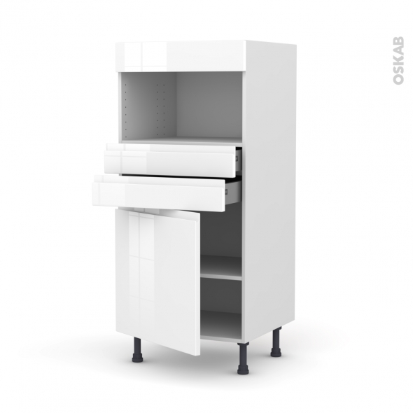 Colonne de cuisine N°56 - MO encastrable niche 36/38 - IPOMA Blanc - 1 porte 2 tiroirs - L60 x H125 x P58 cm