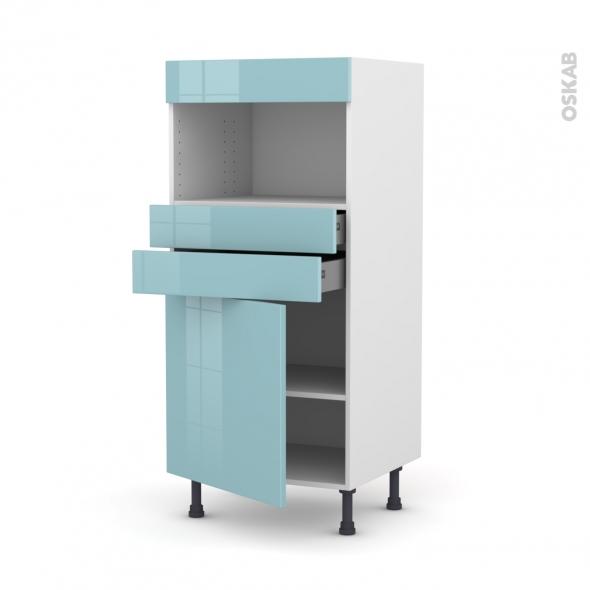 Colonne de cuisine N°56 - MO encastrable niche 36/38 - KERIA Bleu - 1 porte 2 tiroirs - L60 x H125 x P58 cm