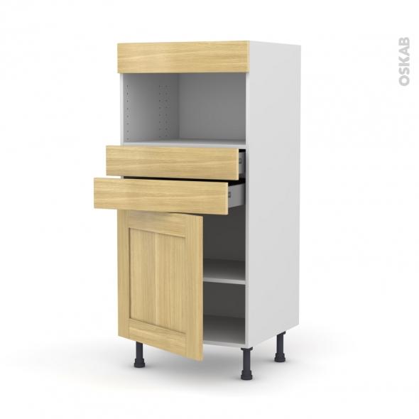 BASILIT Bois Brut - Colonne MO niche 36/38 N°56  - 1 porte 2 tiroirs - L60xH125xP58