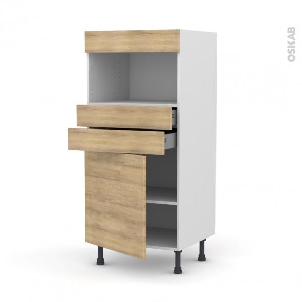 Colonne de cuisine N°56 - MO encastrable niche 36/38 - HOSTA Chêne naturel - 1 porte 2 tiroirs - L60 x H125 x P58 cm