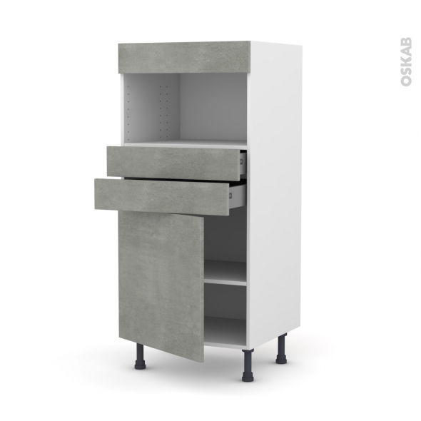 FAKTO Béton - Colonne MO niche 36/38 N°56  - 1 porte 2 tiroirs - L60xH125xP58