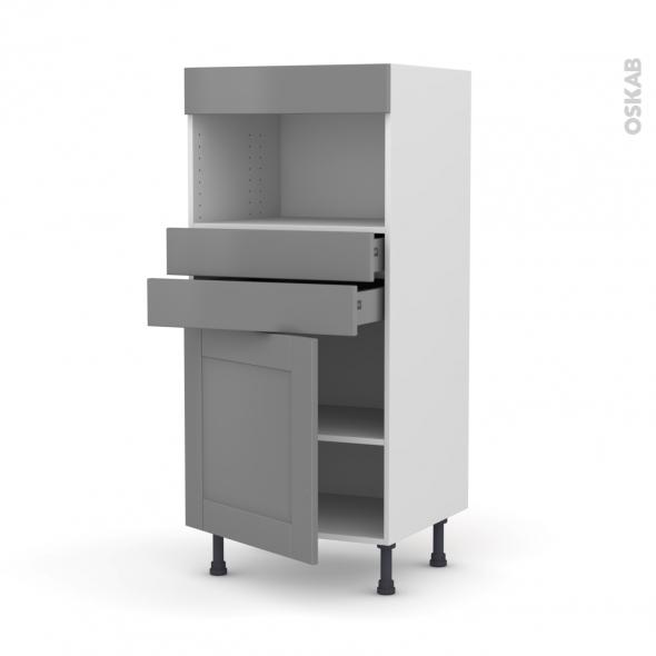 Colonne de cuisine N°56 - MO encastrable niche 36/38 - FILIPEN Gris - 1 porte 2 tiroirs - L60 x H125 x P58 cm