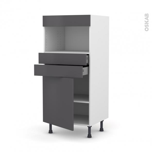 GINKO Gris - Colonne MO niche 36/38 N°56  - 1 porte 2 tiroirs - L60xH125xP58