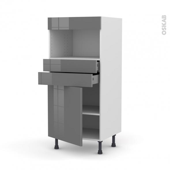 Colonne de cuisine N°56 - MO encastrable niche 36/38 - STECIA Gris - 1 porte 2 tiroirs - L60 x H125 x P58 cm