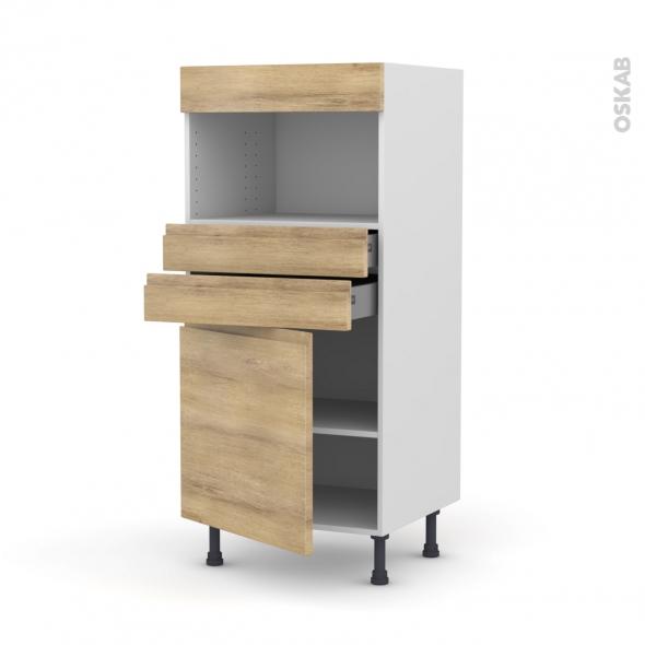 Colonne de cuisine N°56 - MO encastrable niche 36/38 - IPOMA Chêne naturel - 1 porte 2 tiroirs - L60 x H125 x P58 cm