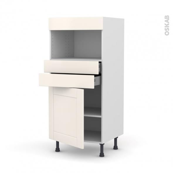 Colonne de cuisine N°56 - MO encastrable niche 36/38 - FILIPEN Ivoire - 1 porte 2 tiroirs - L60 x H125 x P58 cm