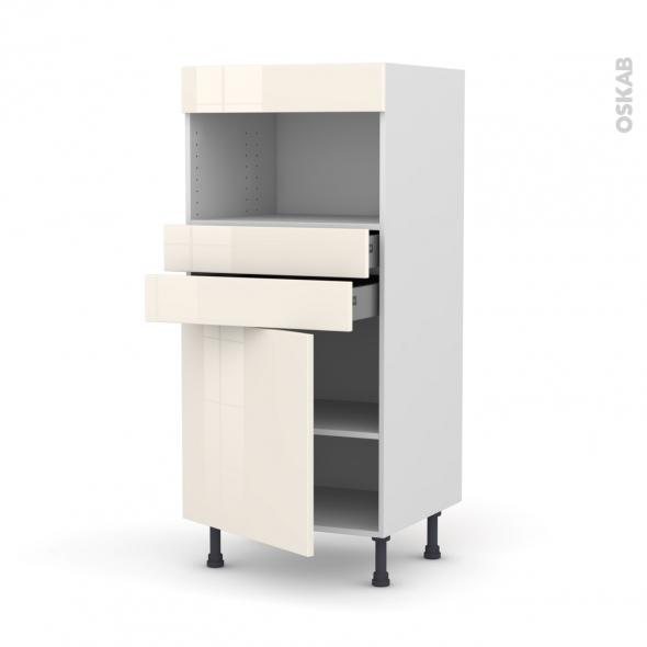 Colonne de cuisine N°56 - MO encastrable niche 36/38 - KERIA Ivoire - 1 porte 2 tiroirs - L60 x H125 x P58 cm