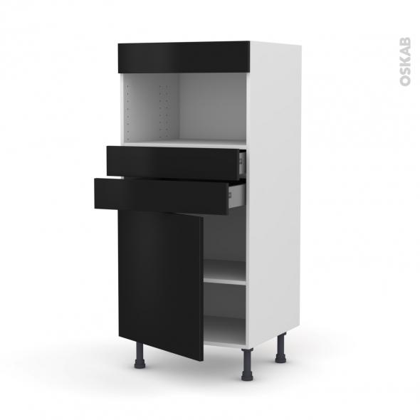 Colonne de cuisine N°56 - MO encastrable niche 36/38 - GINKO Noir - 1 porte 2 tiroirs - L60 x H125 x P58 cm