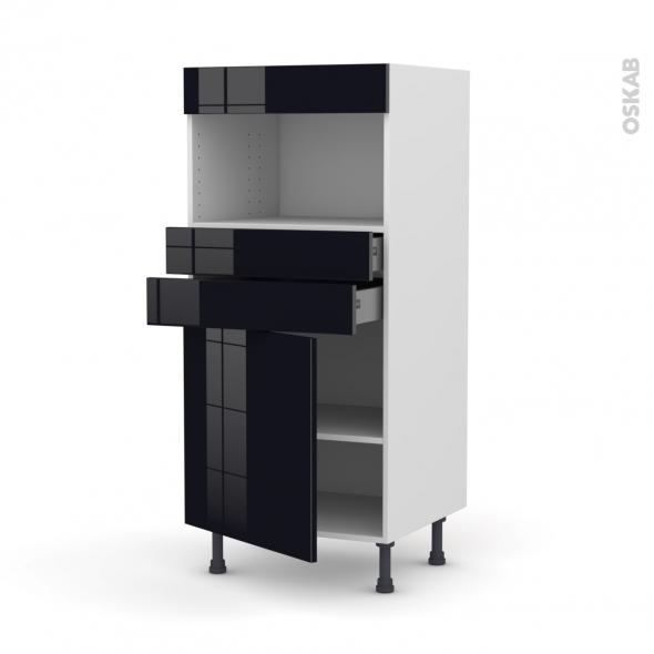 Colonne de cuisine N°56 - MO encastrable niche 36/38 - KERIA Noir - 1 porte 2 tiroirs - L60 x H125 x P58 cm