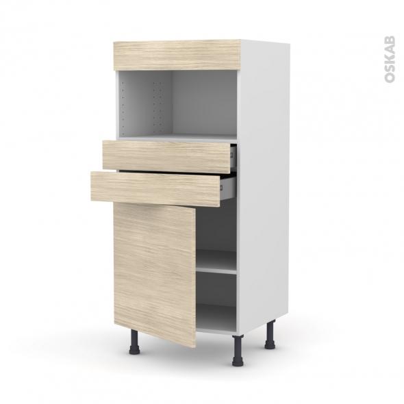 Colonne de cuisine N°56 - MO encastrable niche 36/38 - STILO Noyer Blanchi - 1 porte 2 tiroirs - L60 x H125 x P58 cm