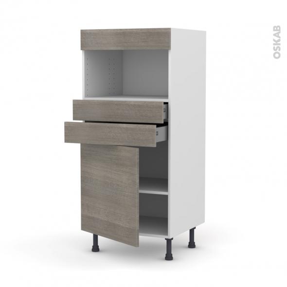 Colonne de cuisine N°56 - MO encastrable niche 36/38 - STILO Noyer Naturel - 1 porte 2 tiroirs - L60 x H125 x P58 cm