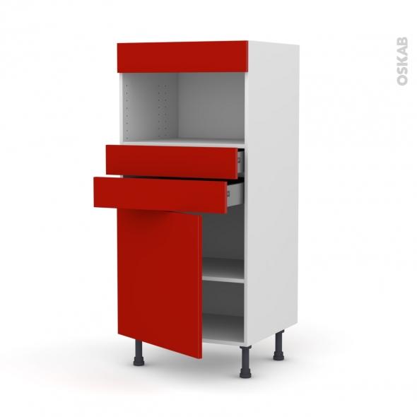 GINKO Rouge - Colonne MO niche 36/38 N°56  - 1 porte 2 tiroirs - L60xH125xP58
