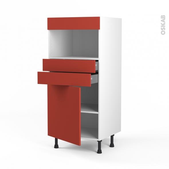HELIO Rouge - Colonne MO niche 36/38 N°56  - 1 porte 2 tiroirs - L60xH125xP58