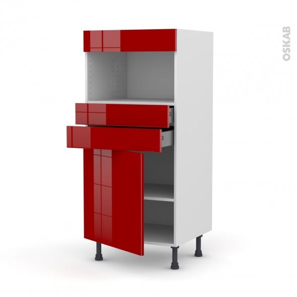 STECIA Rouge - Colonne MO niche 36/38 N°56  - 1 porte 2 tiroirs - L60xH125xP58