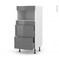Colonne de cuisine N°57 - MO encastrable niche 36/38 - STECIA Gris - 3 tiroirs - L60 x H125 x P58 cm