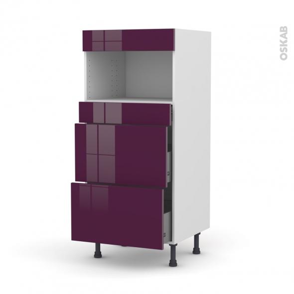 Colonne de cuisine N°57 - MO encastrable niche 36/38 - KERIA Aubergine - 3 tiroirs - L60 x H125 x P58 cm