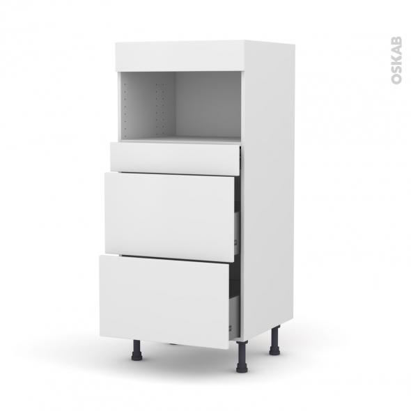 Colonne de cuisine N°57 - MO encastrable niche 36/38 - GINKO Blanc - 3 tiroirs - L60 x H125 x P58 cm