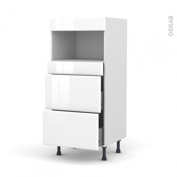 Colonne de cuisine N°57 - MO encastrable niche 36/38 - IRIS Blanc - 3 tiroirs - L60 x H125 x P58 cm