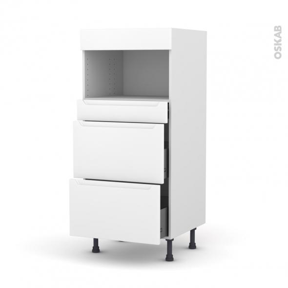 Colonne de cuisine N°57 - MO encastrable niche 36/38 - PIMA Blanc - 3 tiroirs - L60 x H125 x P58 cm