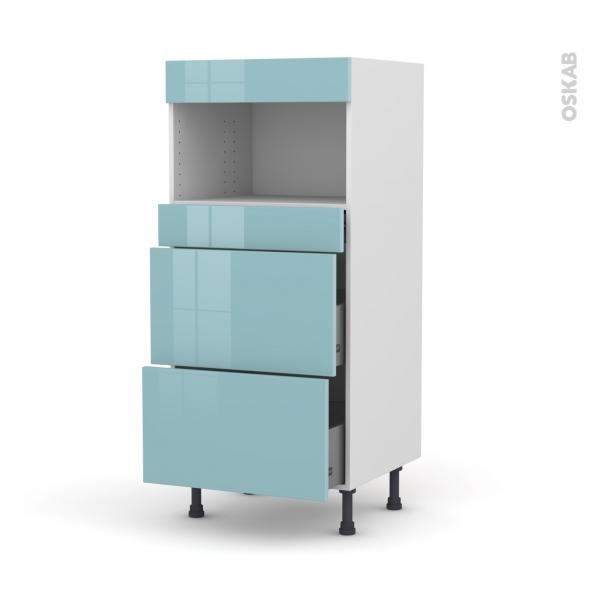 KERIA Bleu - Colonne MO niche 36/38 N°57  - 3 tiroirs - L60xH125xP58