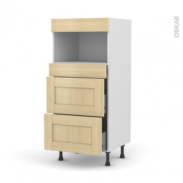 BASILIT Bois Vernis - Colonne MO niche 36/38 N°57  - 3 tiroirs - L60xH125xP58