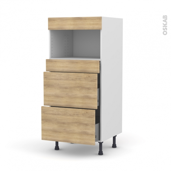 Colonne de cuisine N°57 - MO encastrable niche 36/38 - HOSTA Chêne naturel - 3 tiroirs - L60 x H125 x P58 cm