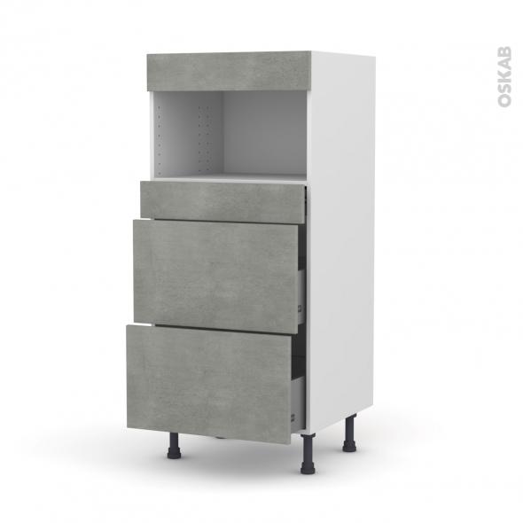 Colonne de cuisine N°57 - MO encastrable niche 36/38 - FAKTO Béton - 3 tiroirs - L60 x H125 x P58 cm