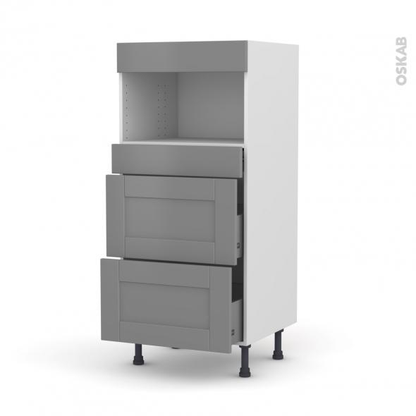 Colonne de cuisine N°57 - MO encastrable niche 36/38 - FILIPEN Gris - 3 tiroirs - L60 x H125 x P58 cm