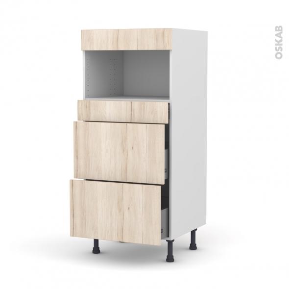 Colonne de cuisine N°57 - MO encastrable niche 36/38 - IKORO Chêne clair - 3 tiroirs - L60 x H125 x P58 cm