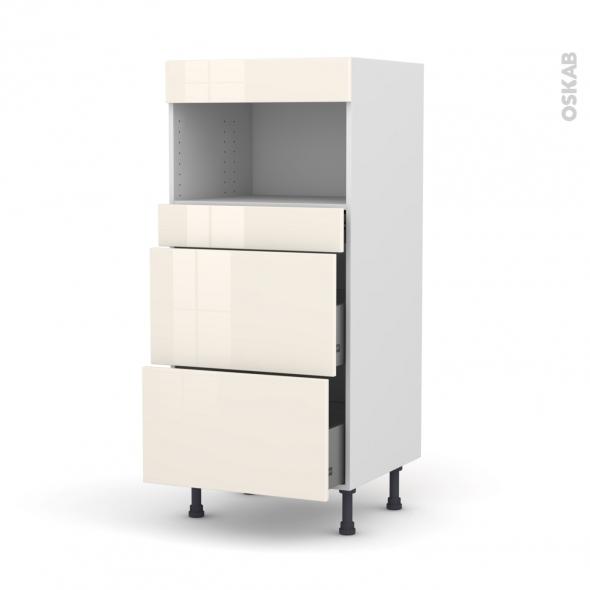 KERIA Ivoire - Colonne MO niche 36/38 N°57  - 3 tiroirs - L60xH125xP58