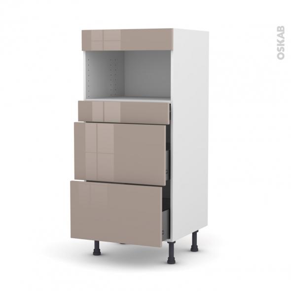 Colonne de cuisine N°57 - MO encastrable niche 36/38 - KERIA Moka - 3 tiroirs - L60 x H125 x P58 cm