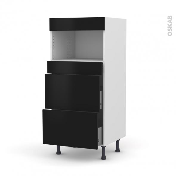 Colonne de cuisine N°57 - MO encastrable niche 36/38 - GINKO Noir - 3 tiroirs - L60 x H125 x P58 cm