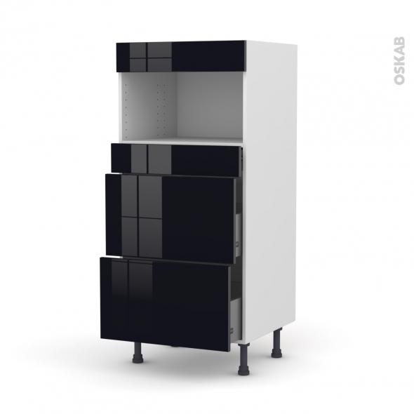 Colonne de cuisine N°57 - MO encastrable niche 36/38 - KERIA Noir - 3 tiroirs - L60 x H125 x P58 cm